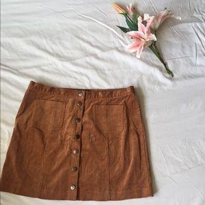 High Waisted Corduroy Skirt